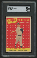 1958 Topps #487 Mickey Mantle AS TP (SGC 5)