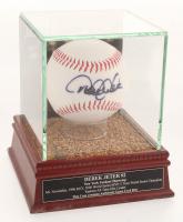 Derek Jeter Signed OML New York Yankees Logo Baseball with High Quality Game-Used Dirt Display Case (PSA LOA & Steiner COA)