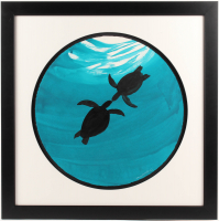 "Wyland Signed ""Two Turtles"" 28.5x28.5 Original Watercolor Painting (Pristine Auction LOA)"
