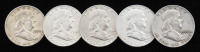 Lot of (5) Franklin Silver Half-Dollars with 1956, 1958-D, & (3) 1962-D