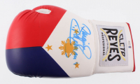 """Manny Pacquiao Signed """"Flag of the Philippines"""" Reyes Boxing Glove Inscribed """"Pacman"""" (Beckett COA)"""