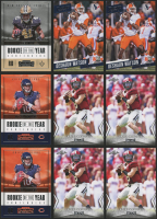 Lot of (9) Football Cards with (4) 2018 Leaf Draft #7 Baker Mayfield, (2)  2017 Prestige #213 Deshaun Watson RC, (2)  2017 Panini Contenders Rookie of the Year Contenders #1 Mitchell Trubisky, (1) 2017 Panini Contenders Rookie of the Year Contenders #10 A
