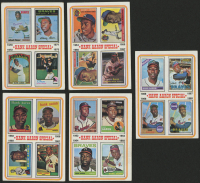 Lot of (5) 1974 Topps Hank Aaron Baseball Cards with #5 66-69, #4 62-65, #3 58-61, #2 54-57, #6 70-73