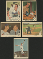 Lot of (5) 1959 Fleer Ted Williams Baseball Cards with #43 Double Play Lead, #42 Williams/Tom Yawkey, #5 Ted's Fame Spreads, #46 Ready for Combat, #41 1950 Ted Recovers