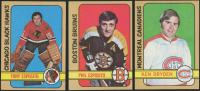 Lot of (3) 1972-73 Topps Hockey Cards with #160 Ken Dryden, #150 Phil Esposito, #20 Tony Esposito