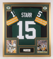 Bart Starr Signed Green Bay Packers 32x36 Custom Framed Cut with Jersey (PSA LOA)