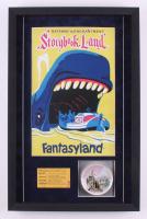 Disneyland 16.5x25.75x2 Custom Framed Shadowbox Vintage Tray Display with Vintage Disneyland Ticket & Disneyland Poster