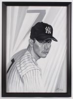 Mickey Mantle 23x32 Custom Framed Original Acrylic Painting Display at PristineAuction.com