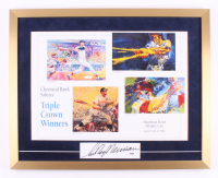 "LeRoy Neiman Signed ""Triple Crown Winners"" 22x27.5 Custom Framed Cut Display with Mickey Mantle, Ted Williams, Carl Yastrzemski (PSA COA)"