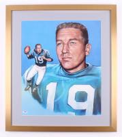 "Johnny Unitas Signed Baltimore Colts 23"" x 26"" Custom Framed Print Display (PSA LOA)"
