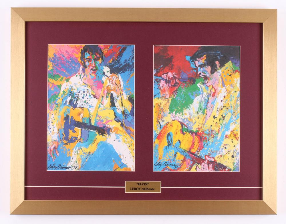 "LeRoy Neiman ""Elvis Presley"" 17x22 Custom Framed Prints Display at PristineAuction.com"