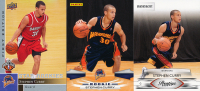 Lot of (3) 2009-10 Stephen Curry Basketball Cards wtih Prestige #157 RC, Panini #307 RC, &  Upper Deck First Edition #196 RC
