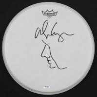 "Alice Cooper Signed 14.5"" Drumhead with Original Self-Portrait Sketch (PSA COA)"