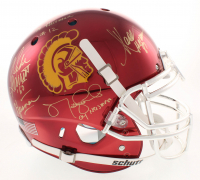USC Trojans Heisman Winners Full-Size Authentic On-Field Chrome Helmet Signed By (5) With Carson Palmer, Matt Leinart, Charles White, Marcus Allen With Multiple Heisman Inscriptions (Radtke COA) at PristineAuction.com