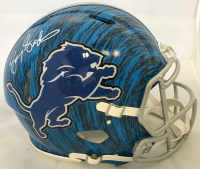 Barry Sanders Signed Detroit Lions Full-Size Authentic On-Field Hydro Dipped Speed Helmet (Beckett COA & Schwartz Hologram)