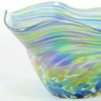 "Glass Eye Studios ""Mini Wave Bowl (Bonnet Twist)"" Hand Blown Glass Sculpture at PristineAuction.com"