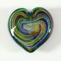 """Glass Eye Studios """"Heart of Fire (Golden Rainbow)"""" Hand Blown Glass Paperweight at PristineAuction.com"""