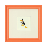 """Daffy Duck"" Limited Edition 9x9 Custom Framed Etching with Hand-Tinted Color"