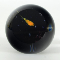 """Glass Eye Studios """"Shooting Star"""" Hand Blown Glass Paperweight (Second) at PristineAuction.com"""