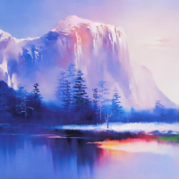 """H. Leung Signed """"Glacier Lake"""" Limited Edition 35x26 Giclee on Canvas at PristineAuction.com"""