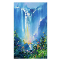 "Thomas Leung Signed ""Green Forest Falls"" Limited Edition 36x60 Giclee on Canvas at PristineAuction.com"