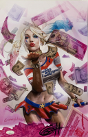 """Greg Horn Signed """"Harley Quinn: Blood Money Pink"""" 11x17 Lithograph (JSA COA)"""