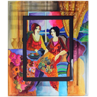 "Patricia Govezensky Signed ""Tea for Two"" 21x16 Custom Hand Painted Framed & Original Watercolor at PristineAuction.com"