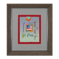 "Peter Max Signed ""Flag"" 19x22 Custom Framed One-Of-A-Kind Acrylic Mixed Media at PristineAuction.com"