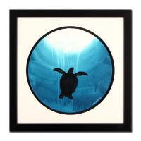 "Wyland Signed ""Turtle"" 28x28 Custom Framed Original Watercolor Painting"