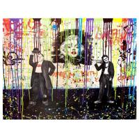 "Nastya Rovenskaya Signed ""Chaplin and Hardy"" 40x30 Original Oil on Canvas"