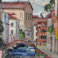 """Alex Zwarenstein Signed """"Angelo Canal"""" 30x26 Custom Framed Original Oil Painting on Canvas at PristineAuction.com"""