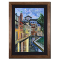 "Alex Zwarenstein Signed ""Light on Venetian Night"" 35x23 Custom Framed Original Oil Painting on Canvas"