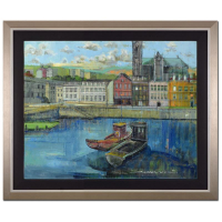"Alex Zwarenstein Signed ""Cobh Harbour County Cork"" 36x30 Custom Framed Original Oil Painting on Canvas"