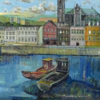 "Alex Zwarenstein Signed ""Cobh Harbour County Cork"" 36x30 Custom Framed Original Oil Painting on Canvas at PristineAuction.com"