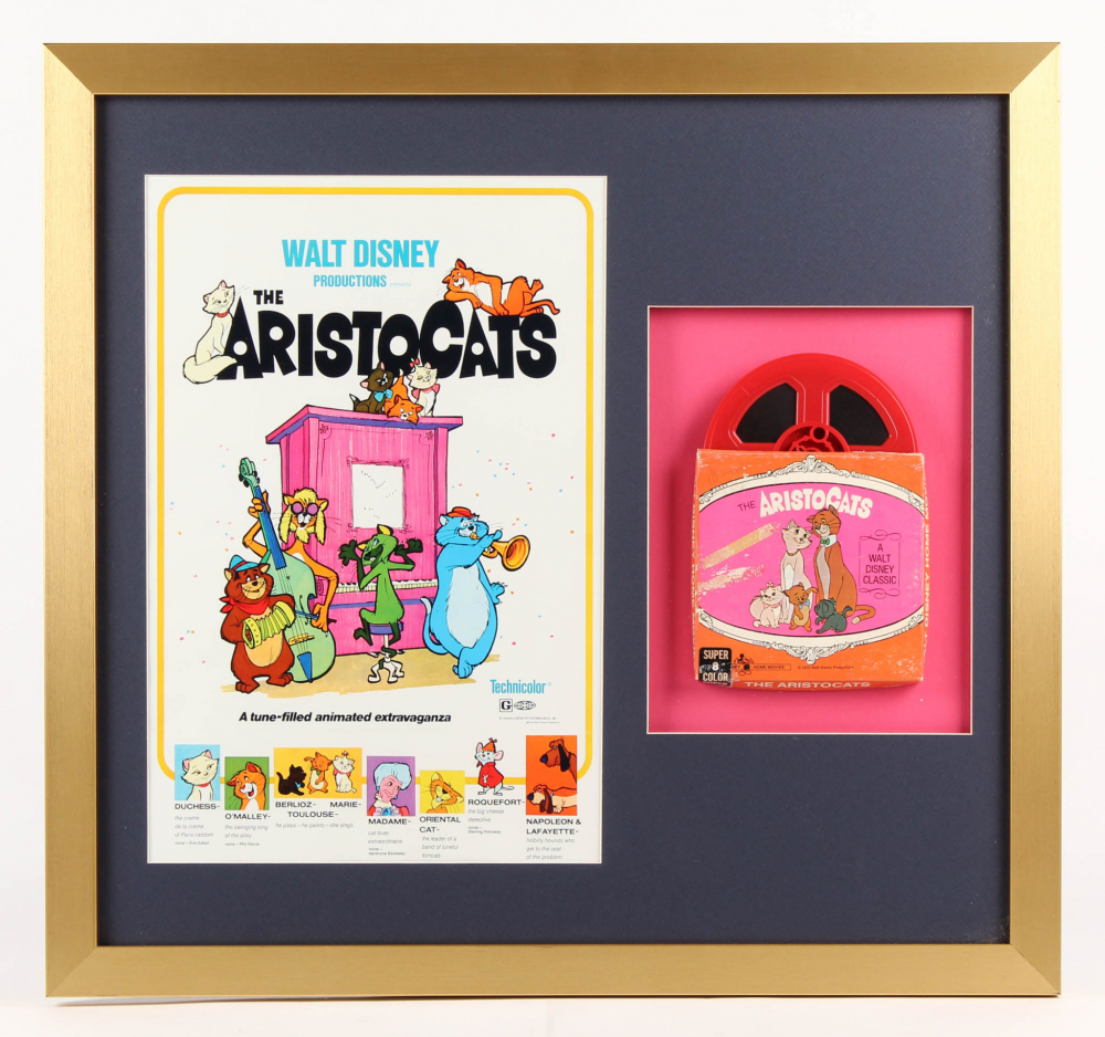 """The Aristocats"" 22x23.5 Custom Framed Vintage Film Display at PristineAuction.com"