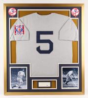 Joe DiMaggio Signed New York Yankees 32x36 Custom Framed Cut (PSA LOA)