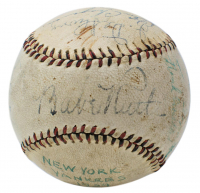 1934 New York Yankees Baseball Multi-Signed by (11) with Babe Ruth, Lou Gehrig, Jimmie DeShong, Ben Chapman, Russ Van Atta & Dixie Walker with Display Case (PSA LOA)