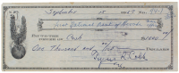 1957 Ty Cobb Signed Personal Check (PSA LOA)