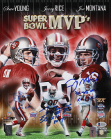 Jerry Rice, Joe Montana & Steve Young Signed San Francisco 49ers 11x14 Photo with Multiple Inscriptions (Beckett LOA)