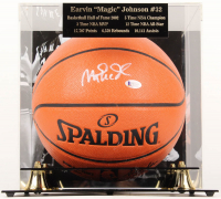 Magic Johnson Signed NBA Game Ball Series Basketball With High Quality Display Case (Beckett COA)