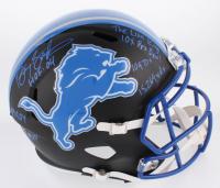 Barry Sanders Signed Detroit Lions Matte Black Full-Size Speed Helmet with (7) Inscriptions (Schwartz COA)