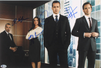Suits 12x18 Photo Signed by (4) With Gabriel Macht, Meghan Markle, Patrick J. Adams & Rick Hoffman (Beckett LOA)