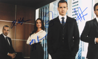 Suits 12x18 Photo Signed by (4) With Gabriel Macht, Meghan Markle, Patrick J. Adams & Rick Hoffman (Beckett LOA) at PristineAuction.com