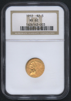 1912 $2.50 Indian Quarter Eagle Gold Coin (NGC MS 62)