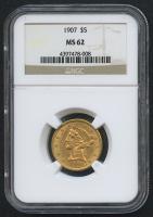 1907 $5 Five Dollars Liberty Head Half Eagle Gold Coin (NGC MS 62)