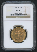 1892-S $10 Ten Dollars Liberty Head Eagle Gold Coin (NGC MS 61)