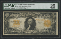 1922 $20 Twenty Dollars U.S. Gold Certificate Large Size Bank Note (PMG 25)