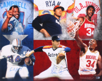 Nolan Ryan, Earl Campbell & Hakeem Olajuwon Signed 16x20 Photo (AIV COA)