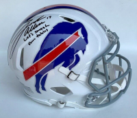 "Josh Allen Signed Buffalo Bills Full-Size Authentic On-Field Speed Helmet Inscribed ""Let's Smash Some Tables"" (Beckett COA)"