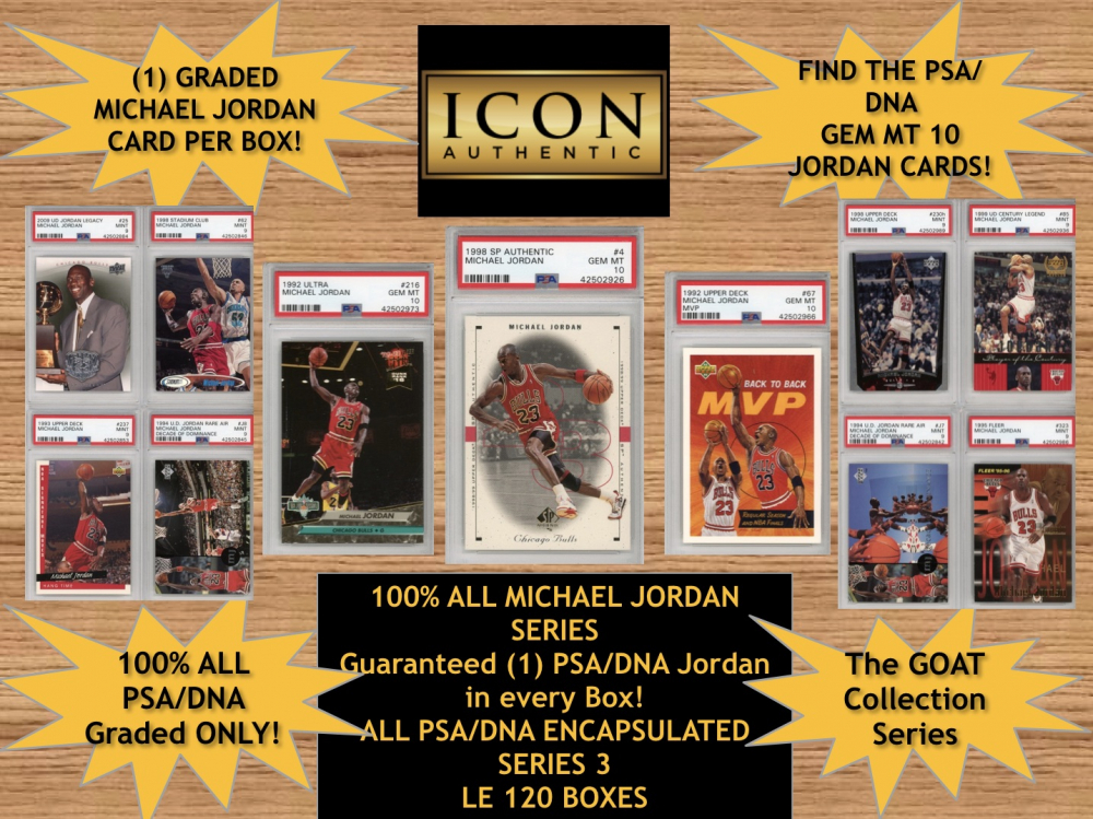 Icon Authentic 100% Michael Jordan Series 3 Mystery Box (Guarateed Michael Jordan in Every Box) ALL PSA Encapsulated at PristineAuction.com